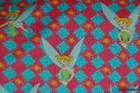 "SALE! VTG 58""W Tinkerbell Diamond Bckgrd Pink Grn Cotton Blend Fabric-BTY"