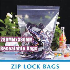 100x Zip Lock Bags 280X380mm Resealable Ziplock Plastic Bag Recloseable zipper