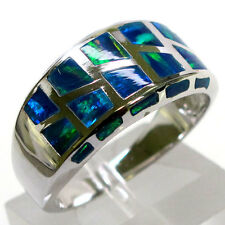 AWESOME BLUE OPAL 925 STERLING SILVER RING SIZE 5