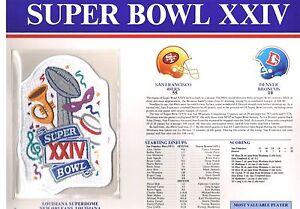 Super Bowl XXIV 49ers Miami Broncos Willabee Football Jersey Patch Joe Montana