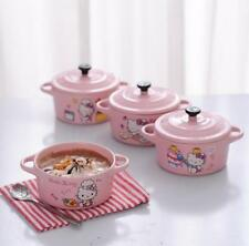 1PC Hello Kitty Ceramic Pudding Cake Bowls Pot Microwaveable With Cover 200ML
