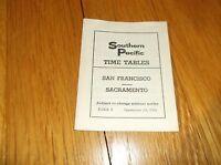 SEPTEMBER 1961 SOUTHERN PACIFIC SAN FRANCISCO TO SACRAMENTO, CA PUBLIC TIMETABLE