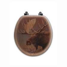 Chocolate Moose round Closed Front Wood Toilet Seat in Oak Brown