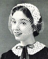 Vintage 50s crochet motif pour faire inhabituel jolie fleur hat & Collier