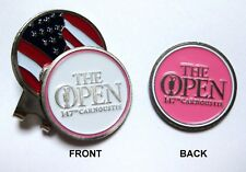 2018 BRITISH OPEN CARMOUSTIE, 2-SIDED, WHITE/PINK Ball Marker & US FLAG HAT CLIP