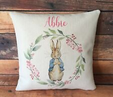 Personalised Peter Rabbit cushion cover 40 cm ~ country nursery baby girl gift