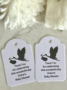 Personalised Baby Shower Tags Bomboniere Thank You Boy Girl Stork Bird Neutral