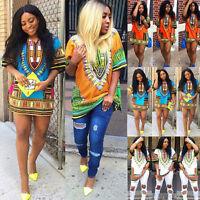 Fashion Women Short Sleeve Dress African Print Casual Straight Mini Party Dress