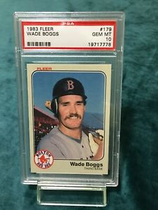 Wade Boggs 1983 Fleer Rookie HOF PSA Mint 10 Flawless Card #179