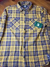 NEW Roots Men's Sz M Long Sleeve Yellow Plaid Button Up Casual FLANNEL Shirt