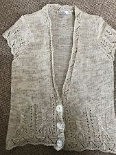 NEW M&CO BEIGE MEDIUM KNIT CAP  SLEEVE CARDIGAN SIZE M Bust 38""