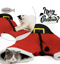 CHRISTMAS SANTA PANTS PET CAT TUNNEL COLLAPSIBLE 3 WAY PLAY TOY PEEK TUBE HOLE
