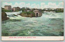 Spokane Washington~Middle Falls~River View~Vintage Postcard