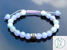 Pisces Blue Lace Agate Aquamarine Birthstone Bracelet 7-8'' Macrame Healing
