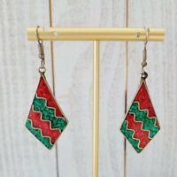 Vintage Green Red Chip Wave Inlay Drop Alpaca Mexico Hook Earrings