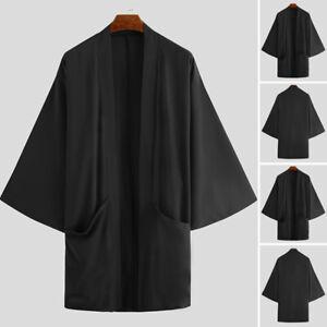 Mens Vintage Japanese Style Kimono Cardigan Outerwear Coats Jacket Baggy Tops