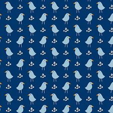 Fabric Nautical Seagulls & Anchors on Navy Cotton 1/4 Yard