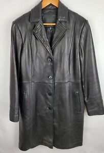 Avanti Womens Large Black Buttery Soft Leather Lined Blazer Jacket Coat