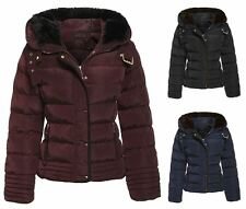 Womens Padded Faux Fur Winter Belt Quilted Thick Warm Shower Proof Hooded Jacket