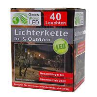 LED Lichterkette 40 Leuchten Warmweiß Weihnachten Dekoration Indoor Outdoor IP44