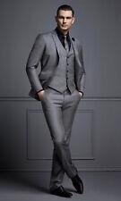 Men Gray Designer Wedding Grooms Tuxedo Dinner Casual Suit (Jacket+Vest+Pants)