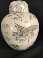 "VINTAGE PORCELAIN GINGER JAR WITH LID LARGE CHINESE  STORAGE  POT 11"" TALL"