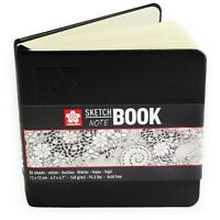 Sakura Sketch Hardback Notebook - 80 Ivory Sheets - 140gsm - 12 x 12cm - Black