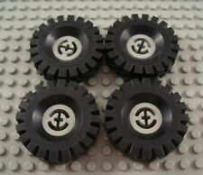 LEGO Lot of 4 Light Gray Tires with 4 Stud Hubs