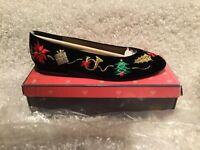 Vtg Talbots Nina Black Velvet Embroidered Christmas Holiday Shoes Sz 8.5N