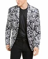 INC Mens Blazer Black Gray Large L Velvet Slim-Fit Floral Two-Button $149 250