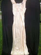 Pink Rayon Nightgown Lace Accents Deep V Back Label Miss D Benay 1930s Vtg SL28