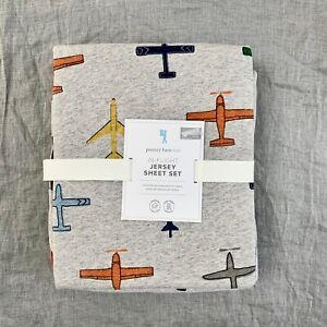 Pottery barn kids Jersey knit In Flight Sheet Set Full Air Plane Grey Blue Soft