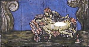 Kamasutra Tenture érotique indienne Batik Fait main Inde Coton Art Boho Décor E