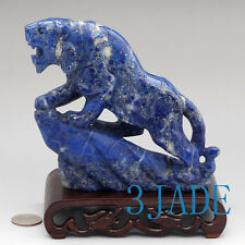 Natural Lapis Lazuli Tiger Statue Gemstone Carving Sculpture Chinese Art Decor
