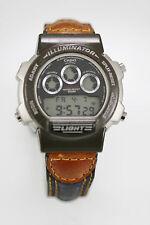 Casio Illuminator Men's Leather Stainless WR Date Chrono Light 24hr Quartz Watch