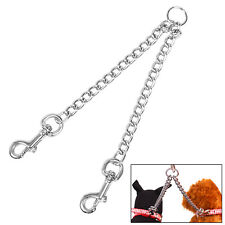 Heavy Double Dog Twin Lead Coupler 2 Way For Two Pet Walking Stainless Chain