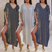 Summer Women Plus Size Beach Dress Club Maxi Cover Up V-neck Holiday Long Kaftan