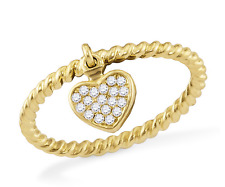 10K Yellow Gold Diamond Heart Ring .10ct White Diamond Dangle Charm Ring Size 7