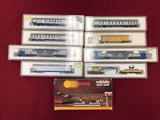 9 Marklin Mini-Club Z-Scale Trains And Accessory In Cases