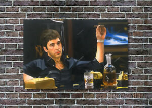 Scarface Tony Montana Oil Painting Al Pacino Original Art Hand-Painted Canvas 24