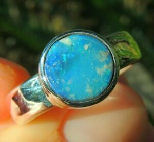 Australian Black Opal Ring Sterling Silver 925 Jewelry Ring Size US9 mens unisex