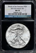 2011 American Silver Eagle Struck at San Francisco Mint NGC MS 70 must see!