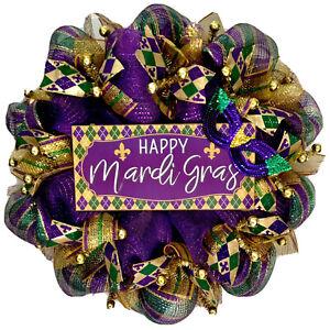 Happy Mardi Gras Wreath Handmade Deco Mesh