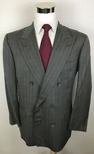 GIEVES & HAWKES BESPOKE NO 1 SAVILE ROW Gray Double Breasted Wool Suit 44R 36x30