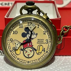 Ingersoll Mickey Mouse Pocket Watch Never Worn Original Box 2004 Reproduction