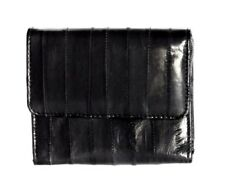 Lee Sands Eelskin Black Coin Purse with ID Window, Key Ring and Mirror