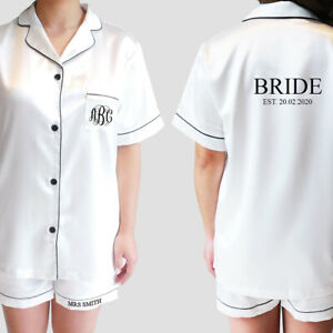 MONOGRAM Personalised Custom Pyjama Sets Bridal Satin Wedding Pajamas Bride Silk