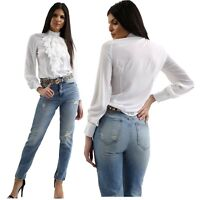 Womens White Ruffle Long Sleeve Top Victorian High Collar Blouse Office Summer