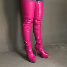 Plus-SizePatent Leather Solid Side Zip Thigh High Boots Silm High Heel Shoes