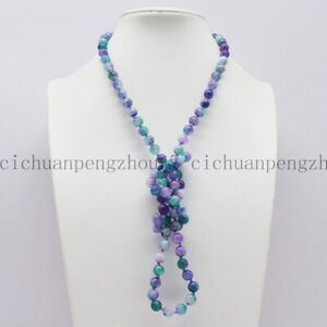 Natural 8mm Purple Green Multi-color Jade Round Gems Beads Necklace 16-36'' AAA